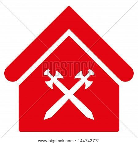 Guard Office icon. Glyph style is flat iconic symbol, red color, white background.