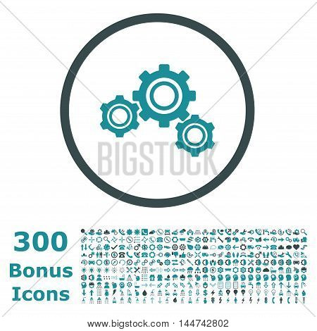 Gears rounded icon with 300 bonus icons. Vector illustration style is flat iconic bicolor symbols, soft blue colors, white background.