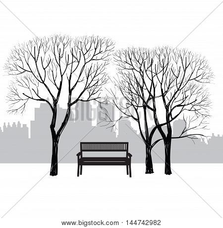 Bench in city park. Trees and plants in garden. Landscape with bench. Cityscape illustration