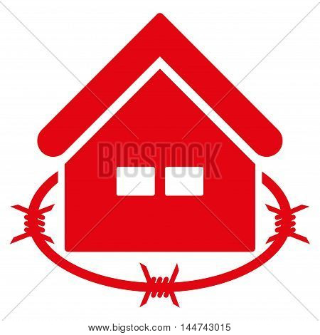 Prison Building icon. Glyph style is flat iconic symbol, red color, white background.