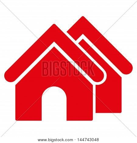 Real Estate icon. Glyph style is flat iconic symbol, red color, white background.