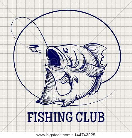 Hand drawn fishing club logo. Ball pen sketch imitation vector
