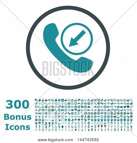 Incoming Call rounded icon with 300 bonus icons. Vector illustration style is flat iconic bicolor symbols, soft blue colors, white background.