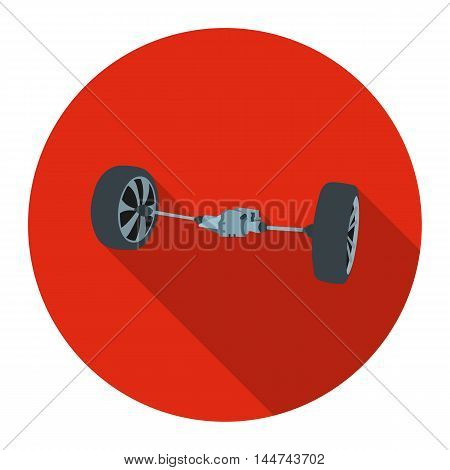 Front car suspension icon flat style. Single silhouette auto parts icon from the big car flat - stock vector