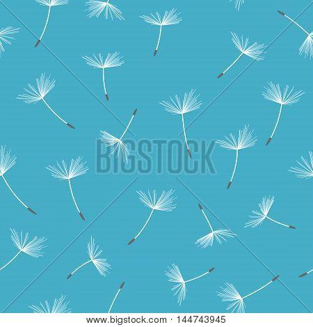 Dandelion seamless pattern. Vector illustration. Flying seeds