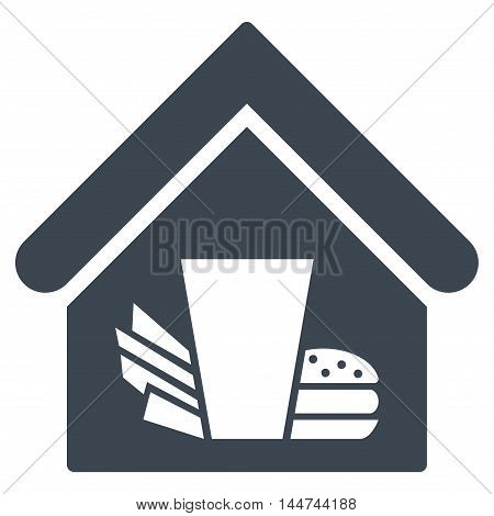 Fastfood Cafe icon. Glyph style is flat iconic symbol, smooth blue color, white background.