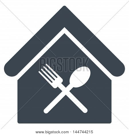 Food Court icon. Glyph style is flat iconic symbol, smooth blue color, white background.