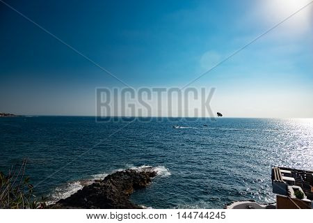 landscape with sea and dramatic sky in Spain
