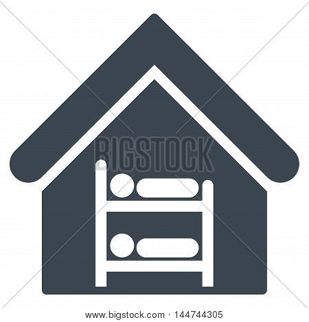 Hostel icon. Glyph style is flat iconic symbol, smooth blue color, white background.