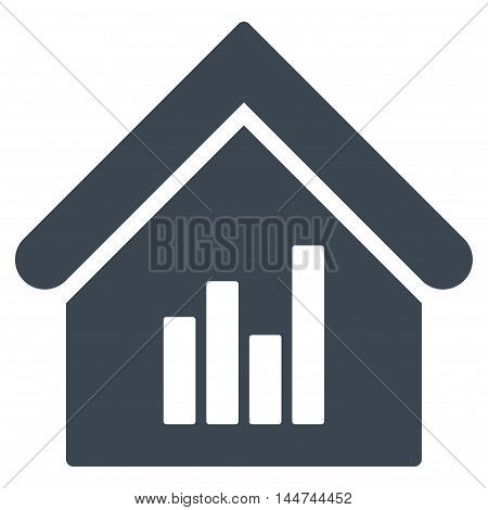 Realty Bar Chart icon. Glyph style is flat iconic symbol, smooth blue color, white background.