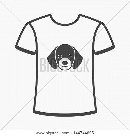 shirt I love dogs vector illustration icon in black design