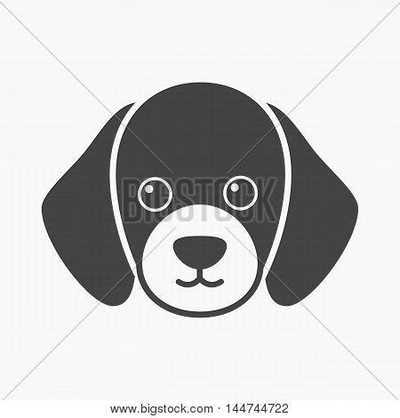 Dog muzzle vector illustration icon in black design