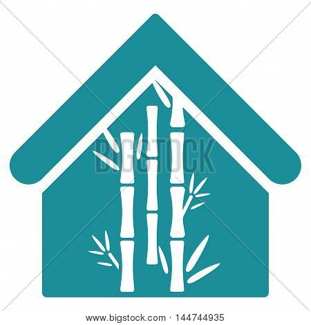 Bamboo House icon. Glyph style is flat iconic symbol, soft blue color, white background.