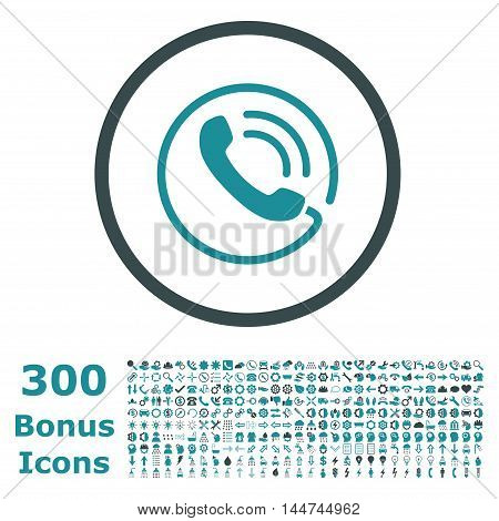 Phone Call rounded icon with 300 bonus icons. Vector illustration style is flat iconic bicolor symbols, soft blue colors, white background.