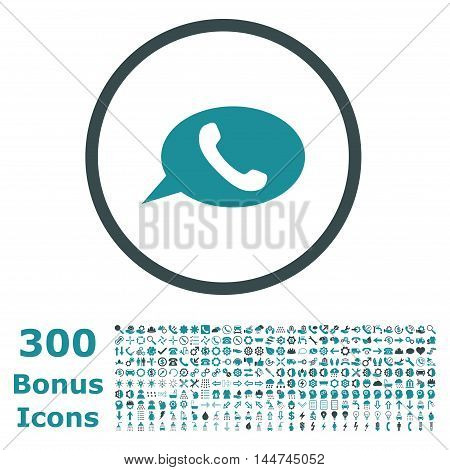Phone Message rounded icon with 300 bonus icons. Vector illustration style is flat iconic bicolor symbols, soft blue colors, white background.