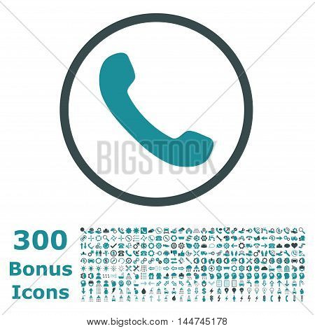 Phone Receiver rounded icon with 300 bonus icons. Vector illustration style is flat iconic bicolor symbols, soft blue colors, white background.