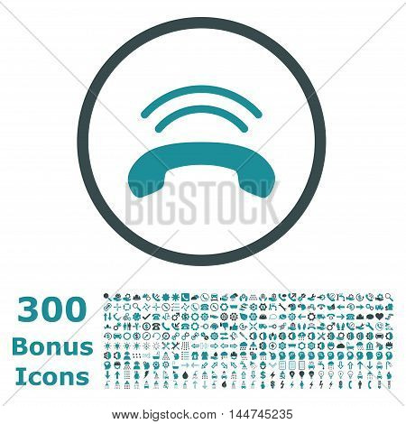 Phone Ring rounded icon with 300 bonus icons. Vector illustration style is flat iconic bicolor symbols, soft blue colors, white background.