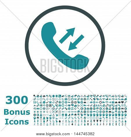 Phone Talking rounded icon with 300 bonus icons. Vector illustration style is flat iconic bicolor symbols, soft blue colors, white background.