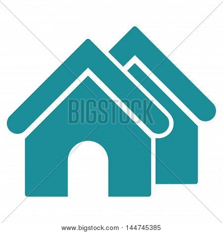 Real Estate icon. Glyph style is flat iconic symbol, soft blue color, white background.
