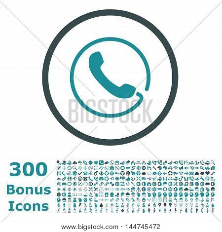 Phone rounded icon with 300 bonus icons. Vector illustration style is flat iconic bicolor symbols, soft blue colors, white background.