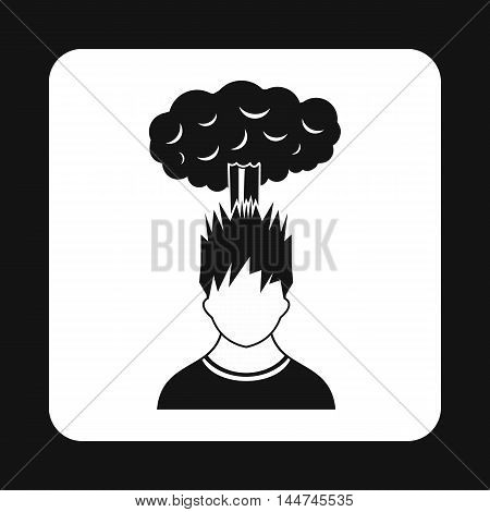 Cloud over man head icon in simple style isolated on white background