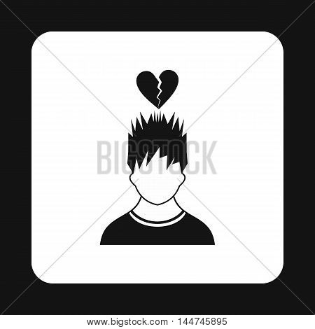 Man and broken heart icon in simple style isolated on white background