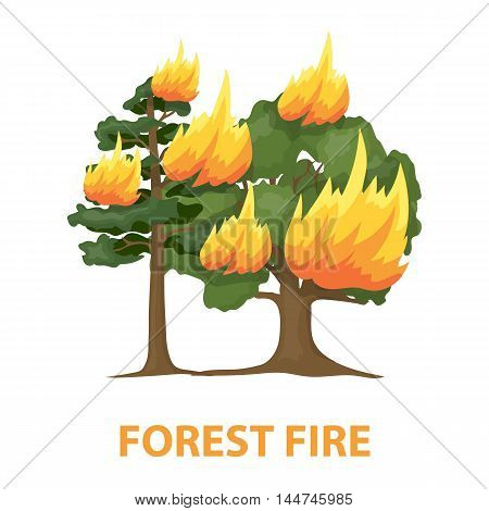 Forest fire vector illustration icon in cartoon design