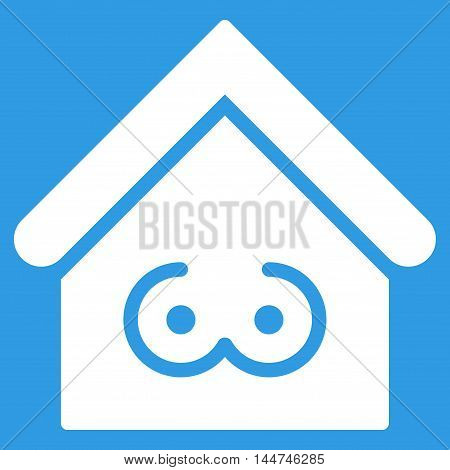Strip Bar icon. Glyph style is flat iconic symbol, white color, blue background.