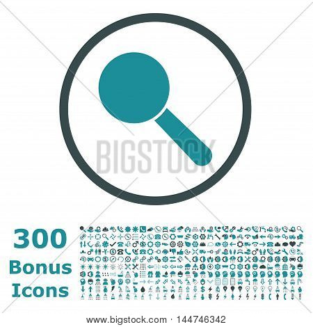 Search Tool rounded icon with 300 bonus icons. Vector illustration style is flat iconic bicolor symbols, soft blue colors, white background.