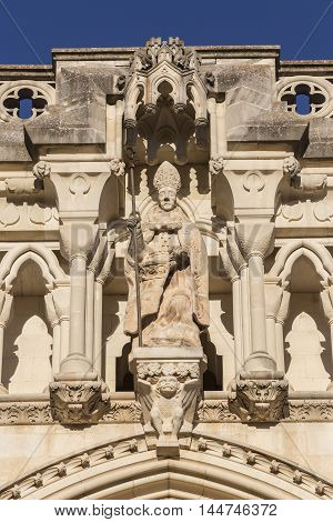 CUENCA SPAIN - August 24 2016: Detail of facade of the Cuenca's Cathedral The cathedral is dedicated to St Julian gothic english-norman style XII century