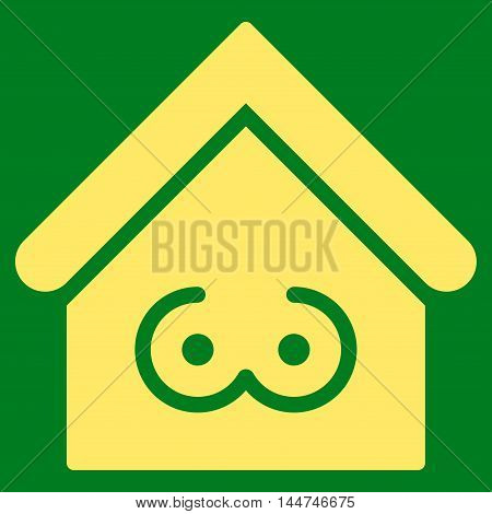 Strip Bar icon. Glyph style is flat iconic symbol, yellow color, green background.