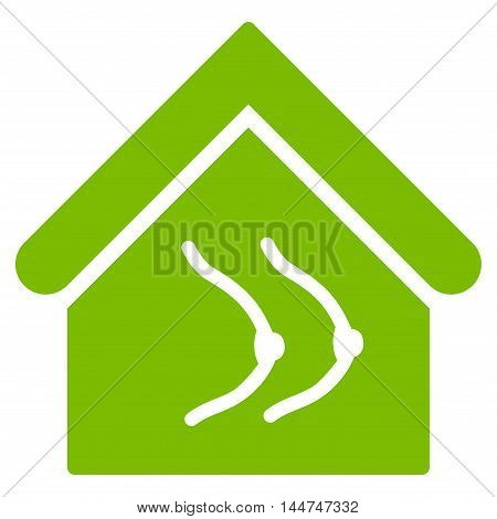 Erotics House icon. Glyph style is flat iconic symbol, eco green color, white background.