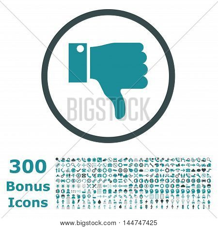 Thumb Down rounded icon with 300 bonus icons. Vector illustration style is flat iconic bicolor symbols, soft blue colors, white background.