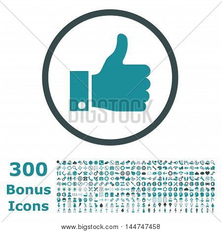 Thumb Up rounded icon with 300 bonus icons. Vector illustration style is flat iconic bicolor symbols, soft blue colors, white background.