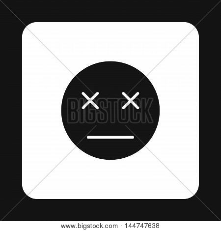 Dead emoticon icon in simple style isolated on white background