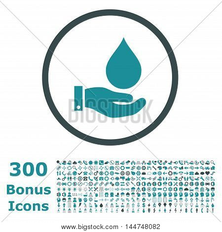 Water Service rounded icon with 300 bonus icons. Vector illustration style is flat iconic bicolor symbols, soft blue colors, white background.