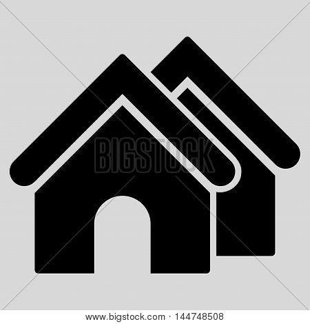 Real Estate icon. Vector style is flat iconic symbol, black color, light gray background.