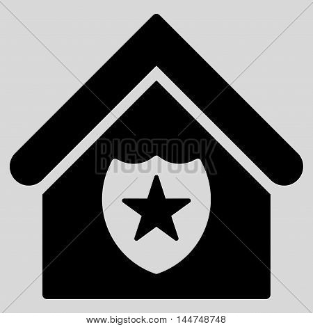 Realty Protection icon. Vector style is flat iconic symbol, black color, light gray background.