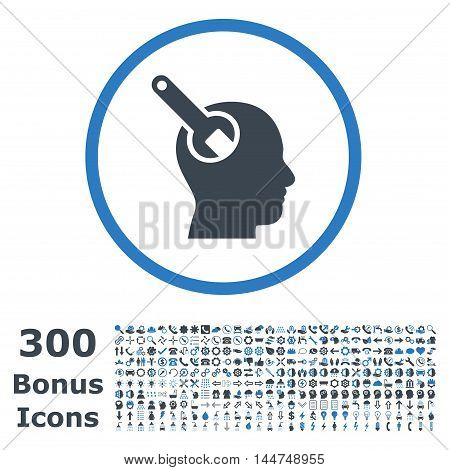 Brain Tool rounded icon with 300 bonus icons. Vector illustration style is flat iconic bicolor symbols, smooth blue colors, white background.