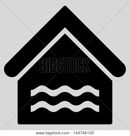 Water Pool icon. Vector style is flat iconic symbol, black color, light gray background.