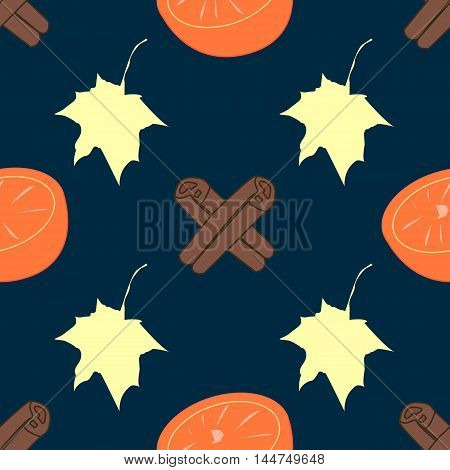 Seamless vector texture with orange and cinnamon on delicate striped background