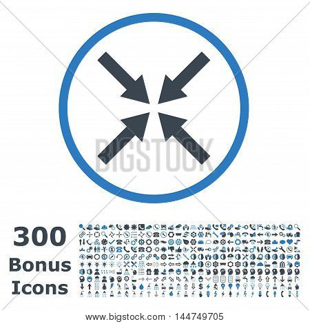Center Arrows rounded icon with 300 bonus icons. Vector illustration style is flat iconic bicolor symbols, smooth blue colors, white background.