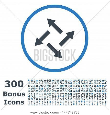 Centrifugal Arrows rounded icon with 300 bonus icons. Vector illustration style is flat iconic bicolor symbols, smooth blue colors, white background.