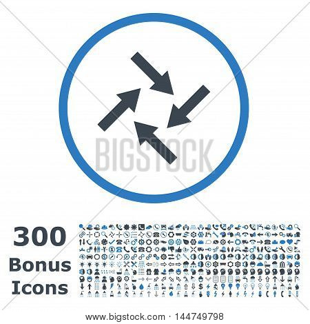 Centripetal Arrows rounded icon with 300 bonus icons. Vector illustration style is flat iconic bicolor symbols, smooth blue colors, white background.