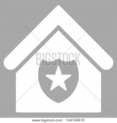 Realty Protection icon. Vector style is flat iconic symbol, white color, silver background.