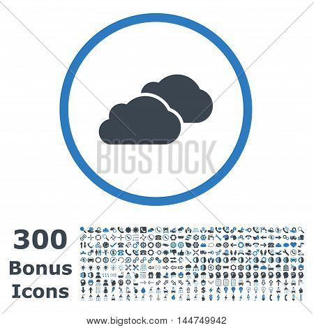 Clouds rounded icon with 300 bonus icons. Vector illustration style is flat iconic bicolor symbols, smooth blue colors, white background.