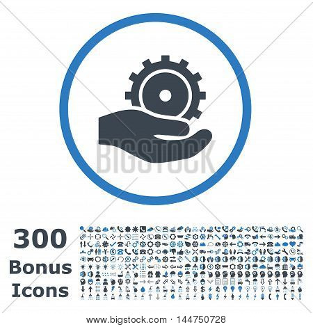 Development Service rounded icon with 300 bonus icons. Vector illustration style is flat iconic bicolor symbols, smooth blue colors, white background.