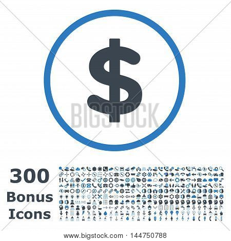 Dollar rounded icon with 300 bonus icons. Vector illustration style is flat iconic bicolor symbols, smooth blue colors, white background.