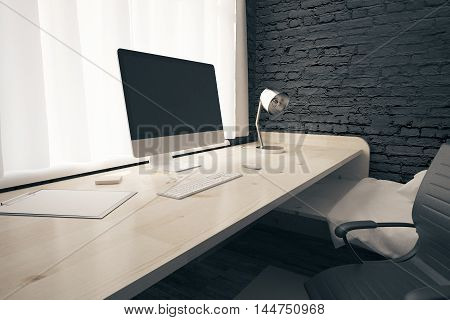 Side view of workplace with blank computer screen in bedroom interior with swivel-chair and other objects. Mock up 3D Rendering