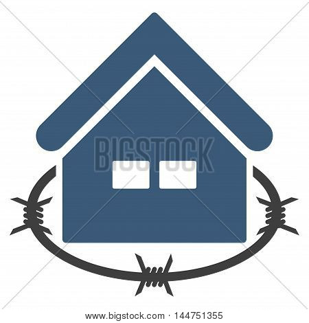 Prison Building icon. Vector style is flat iconic symbol, blue color, white background.